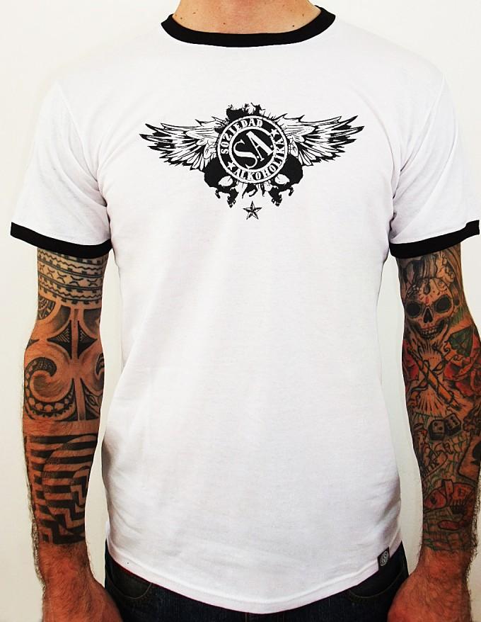 Camiseta Chico Manga Corta - Blanco/Negro - Calaveras Alas