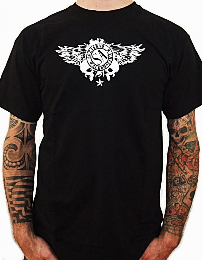 Camiseta Chico Manga Corta - Negro - Calaveras Alas