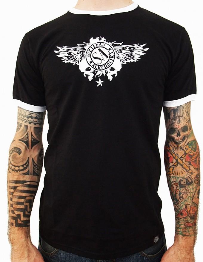 Camiseta Chico Manga Corta - Negro/Blanco - Calaveras Alas