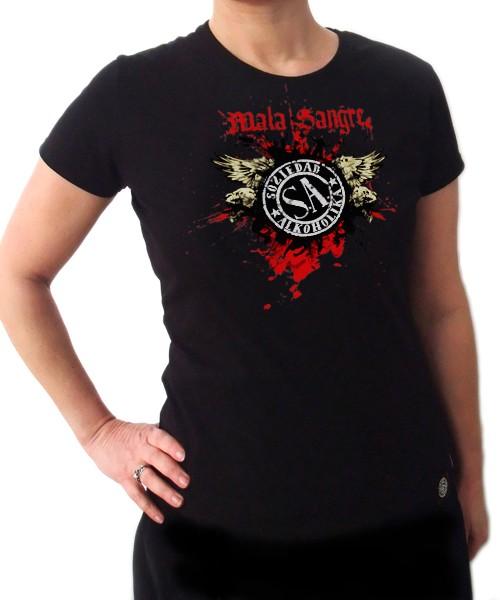Camiseta Chica Manga Corta - Negra - Mala Sangre