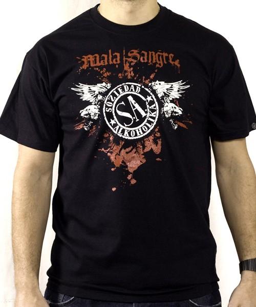Camiseta Chico Manga Corta - Negra - Mala Sangre
