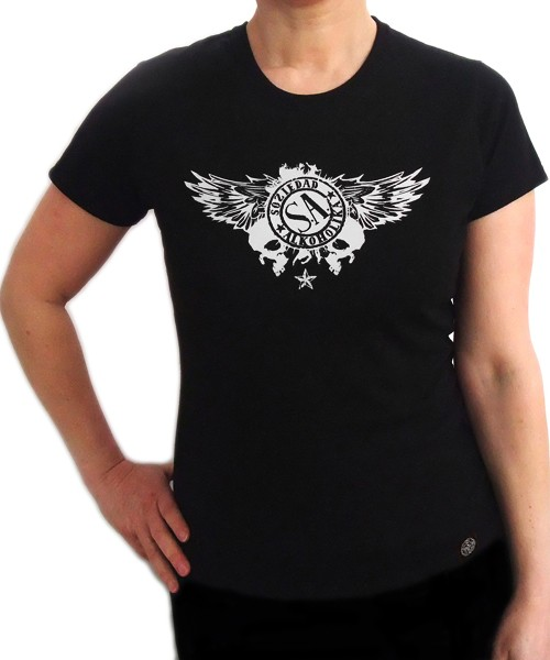 Camiseta Chica Manga Corta - Negra - Calaveras Alas