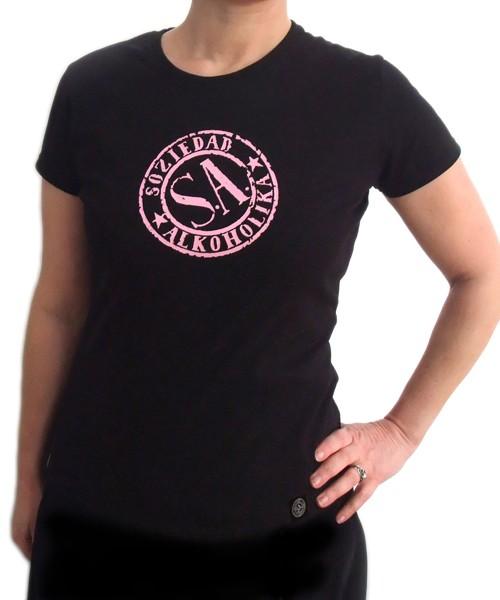 Camiseta Chica Manga Corta - Negra - Sello Rosa
