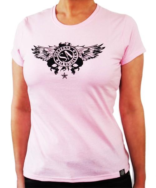 Camiseta Chica Manga Corta - Rosa - Calaveras Alas
