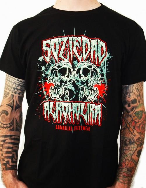 Camiseta Chico Manga Corta - Negra - Skulls